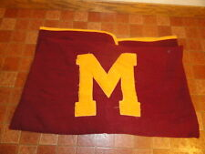 Vtg Wool University Of Minnesota Butwin Golden Gophers Letterman Stadium Blanket