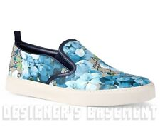 GUCCI men 9G blue BLOOMS GG Supreme Canvas DUBLIN slip on sneakers NIB Authentic