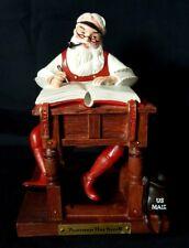 Norman Rockwell Ftd Stunning Santa Checking Naughty Nice List Us Mail Bag