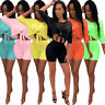 Fashion Women Half Sleeve Solid Color Knot Bodycon Short Jumpsuit Casual 2pcs