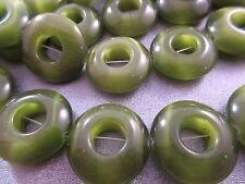 Green Cat's Eye Donuts Beads 17pcs