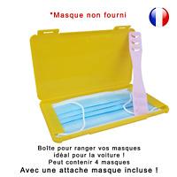 Boîte de rangement jaune et attache rose pour masque