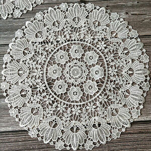 Round Lace Table Cover Floral Embroidery Guipure Party Home Decor Dining Doily