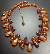 "Vintage Necklace 18-21"" Silver Tone Pink & Orange Large Lucite Beads"