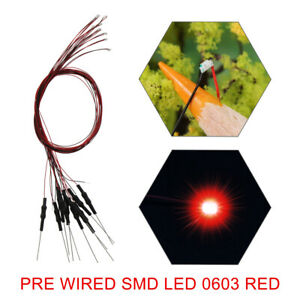 40pcs Pre-wired SMD LED 0603 Red Pre-soldered micro litz wired Red SMD 0603 LED