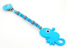 ♥ Beisskette aus Silikon ★ Seepferdchen in blau/grau - Silikonkette ♥
