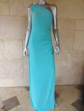 $190 Lauren Ralph Lauren Womens Blue One Shoulder Evening Dress Gown Sz 16