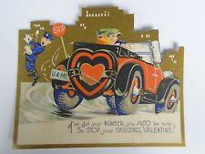 Nos Antique 1900's- 20'S Valentines' Diecut Post Card + Envelope Unused Car