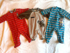 BOYS CARTER'S 3 PC LOT SLEEPER FOOTED FLEECE SNOW MAN, MOOSE, DOG - SIZE 3M