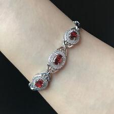 "Oval Red Ruby Cubic Zirconia Three Stone CZ Bracelet Anniversary Xmas Gift 7"""