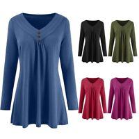 Plus Size Women Autumn Long Sleeve Loose Button V Neck Blouse Tunic Shirts Tops