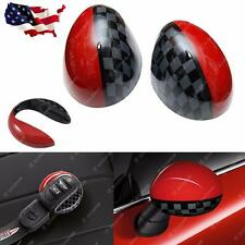 New Side Mirror Covers Caps w/ Key Cap Set For MINI Cooper F56 F55 F54 F57