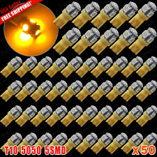 50 X Super Bright Amber Yellow T10 5-SMD 5050 LED Lights Bulbs 921 912 168 194