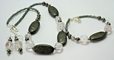 Women Fashion Style Oval Hematite/crystal beads/earrings/bracelet set