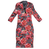 NWT Joe & Elle Floral Bodycon Fitted Dress Sz Large L Stretch Gray Red V Neck