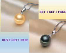 Tahitian Black Pear and Gold pearl (12mm) pendant with S925 Silver Necklace 2 pc