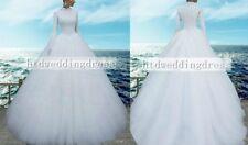 Custom White/Ivory Lace Tulle Long Sleeve Bridal Gown Wedding Dress 8-10-12-14++