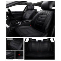 Black Luxury Full Seat Covers 5-Seat Cars Seat Covers All Seasons PU Leather