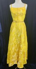 Vintage Yellow and White Floral Satin Sleeveless Evening Gown Repair or Costume