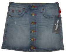 True Religion TR817SI01 Girls Button Down Denim Skirt Sz 12 Bleached Wash NWT