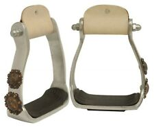NEW Showman Light Polished Aluminum Stirrups With Copper Engraved Conchos!
