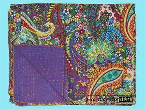 Cotton Coverlet Paisley Print Kantha Quilt Purple Color Bedspread Handmade Gudri