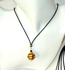 Murano Glass Necklace - Made in Venice Italy, Gift Boxed - Caramel Spiral
