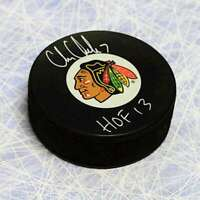 Chris Chelios Chicago Blackhawks Autographed Logo Hockey Puck with HOF Note
