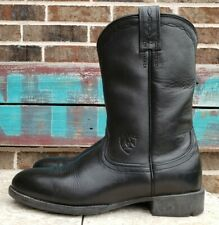 """Ariat Roper Black Leather 10"""" Boots Womens 14501 6.5 B Pull On Cowgirl Western"""