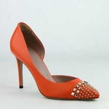 New Gucci Women's Orange Leather Silver Studded Pumps 370491 7523
