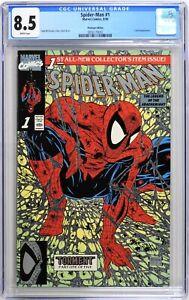 S591 SPIDER-MAN #1 Marvel CGC 8.5 VF+ (1990) PLATINUM EDITION; McFARLANE Cover