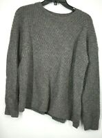 Vince Womens Grey Crewneck Long Sleeves Wool Blend Side Slit Ribbed Sweater XS