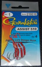 4 Pack Gamakatsu 219510 Assist Hooks - Size 1 Super Sharp - Easy Jig Attachment