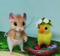 Needle Felted Mouse 'Emily' Animal Artist Teddy Mice Gift Ooak by Viktorija