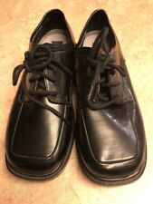 Boys Michael James Black Faux Leather Lace Up Dress SHOES Vegan Sz 4