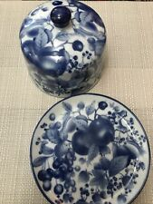 More details for beautiful cheese dome blue and white ironstone vintage victoria ware flow blue