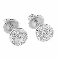 Iced Out Prong Set Earrings Round Cut Simulated Diamonds
