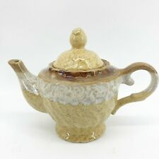"""Home Essentials and Beyond Ceramic Teapot Tan & Brown 8"""" X 6"""" Handle & Spout"""