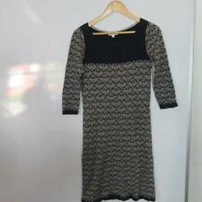 Monsoon Cotton Jersey Dress, Long Sleeved Navy/White Size Small