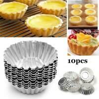 10 Flower Shape Egg Tart Mold Alloy Pudding Pan Cupcake Muffin Cups Baking Cake