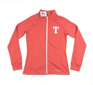 Texas Rangers MLB Majestic Thermabase Womens Large Coral Pink Full Zip Jacket