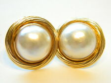 Designer 14k Gold 14mm  Mabe Pearl Button Earrings Pierced  6.2 Grams