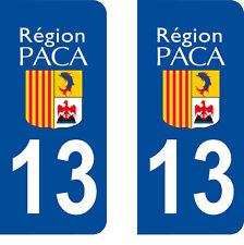 Département 13 sticker 2 autocollants style immatriculation AUTO PLAQUE