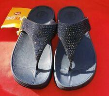 Fitflops Slinky Rokkit Super Navy Women's Sandal 7M Blue With Blue Rhinestones