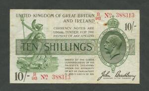 ENGLAND KGV Bradbury 10 sh 1918  T20  F-VF mark  Treasury Banknotes