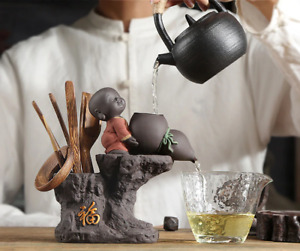 Cute Kid Chinese Monk Kung Fu Tea Ceremony Set Wooden Tools Holder Strainer Tong