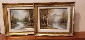 2 - 10 x 8 oil painting framed signed Graby