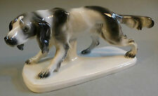Art Déco Porcelaine Chien de Chasse Caille Figurine Animal Hunter Thuringe 1930