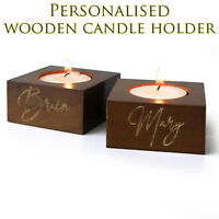 Personalised name wooden tea light candle holder wedding party bar home decor