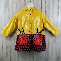 Driplets by Wippette Kids Girls Rain Jacket 4 Yellow Lady Bug Slicker WY2